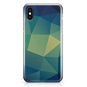 iPhone X Case Green Tone Geomaterical Pattern Tough Modern Wrap Around iPhone 10 Case