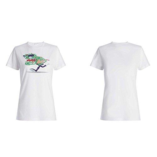 FELIZ HALLOWEEN GREEN FACE ZOMBIE NOVEDAD DIVERTIDA NUEVO camiseta de las mujeres j91f