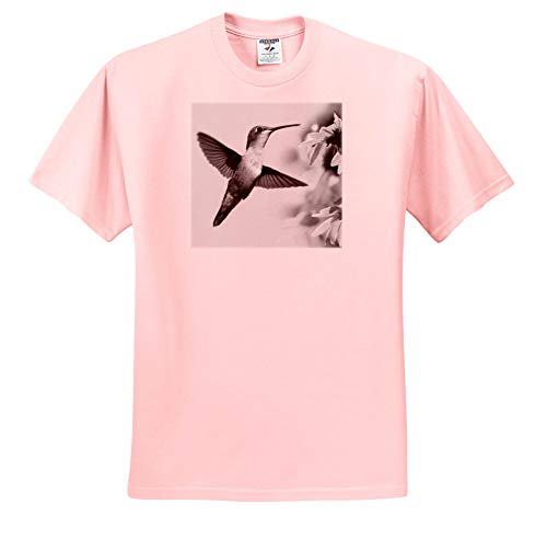 Stamp City - Birds - A Black and White Photograph of a Female Ruby-Throated Hummingbird. - T-Shirts - Light Pink Infant Lap-Shoulder Tee (24M) (ts_289783_73)