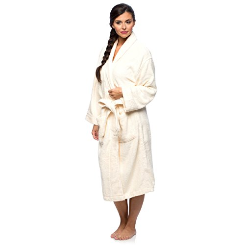 Cheer Collection Luxurious Cotton Small/MediumTerry Bathrobe with Shawl Collar - Ivory