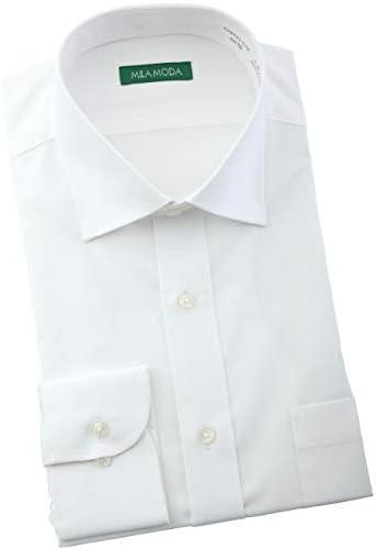【襟・裄丈で選べる36サイズの品揃え】MILA MODA 形態安定加工 長袖 ワイシャツ ホワイト無地