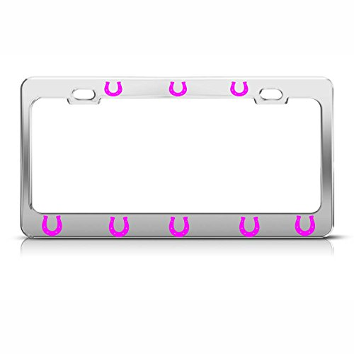 Tiffany Horseshoes - Moon Pink Horse Shoes Heavy Duty Chrome License Plate Frame Tag Border Perfect for Men Women Car garadge Decor