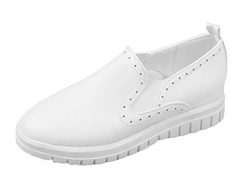 AalarDom Blanc Talon Mélangee TSFDH005675 Unie Matière Femme Légeres Chaussures à Bas Couleur rqwrSOP