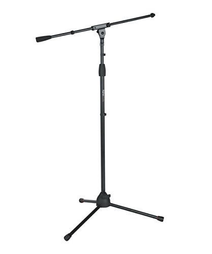 """Gator Frameworks Standard Tripod Microphone Stand with Boom Arm, Adjustable Height, and Both 3/8"""" and 5/8"""" Adapters (GFW-MIC-2010)"""