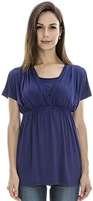 Bearsland Women's Maternity Shirt Nursing Tops Modal Comfy Breastfeeding S