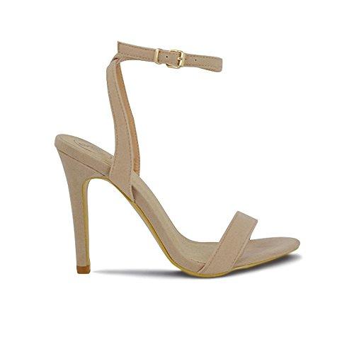 Stiletto ESSEX Scamosciato Cinturino Peep alla Sintetico GLAM Donna Caviglia Finto Sandalo Toe Carne qnrIqg