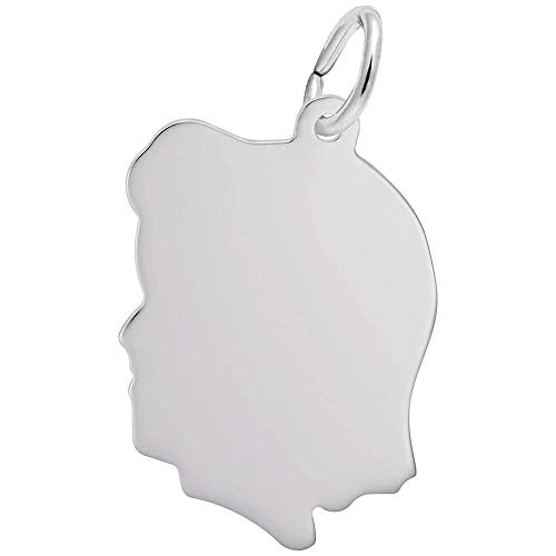 Rembrandt Charms, Medium Girl Silhouette.925 Sterling Silver, Engravable