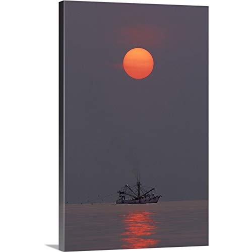 Georgia, Tybee Island. A Shrimp Boat trawling for Shrimp at Sunrise Canvas Wall Art Print, 32