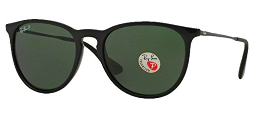 Ray Ban Erika Sunglasses (Shiny Black Frame Polarized Solid G15 Lens, Shiny Black Frame Polarized Solid G15 Lens) (Erika Ray-ban)