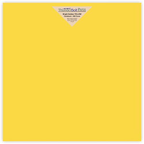 "25 Bright Golden Yellow 65lb Cover|Card Paper - 12"" X 12"" (12X12 Inches) Scrapbook Album