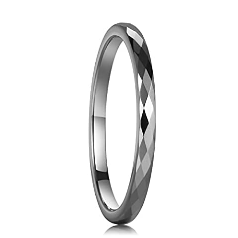 Three Keys Jewelry 2mm Women Multi-faceted Tungsten Carbide Wedding Engagement Silver Band Ring Size (Tungsten White Gold Ring)
