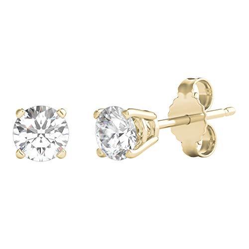 Helzberg Diamonds 14K Yellow Gold 3/8 cttw Round Diamond (I-J, I2) Stud Earrings