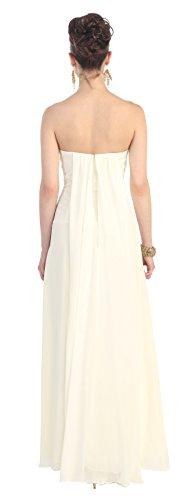 Abendkleid Abschlussballkleid Brautjungfernkleid Lang Schlitz Brautkleid Hochzeitsgast für Schleppe Chiffon Creme mit Elegant u qnxqwFrU