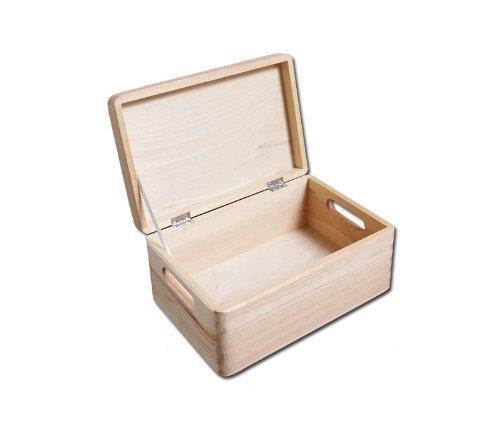 2 x Scatola di legno senza disegni per deposito di giocattoli fai da te con maniglie 30x 20x 14cm HomeDecoArt