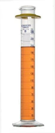 Kimble 20025-250 Glass Class B Single Blue Metric Scale Graduated Cylinder with Bumper, 250mL Capacity, 10 - 250mL Graduation Interval (Pack of 2)