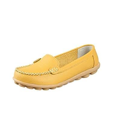 Mujer Pisos Mocasines Zapatos Casuales Primavera OtoñO ResbalóN En SóLido Punta Redonda Redonda CóModo Mocasines De Cuero Dividido: Amazon.es: Zapatos y ...