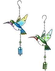 Toyvian Metal Hummingbirds Wind Chimes 2pcs Antique Bird Wind Bell Cast Iron Animal Dinner Bell with Hook Wall Hanging Garden Yard Art for Indoor Outdoor