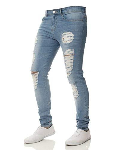 Da Fori Fit Hellblau Motociclista Strappati Denim Uomo Casual Jeans Especial Estilo Pantaloni Slim Elasticizzati Leggeri z4xPTn6