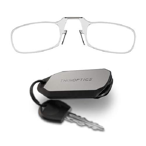 ThinOptics Las gafas de lectura con el llavero, Graduación de 2,00 dioptrías, Montura transparente