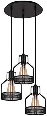 Unitary Brand Rustic Black Metal Cage Shade Dining Room Pendant Light
