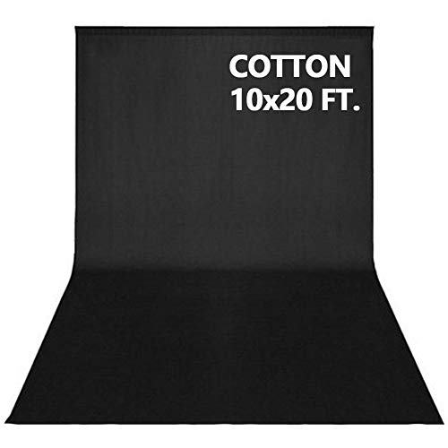 10x20FT Photography Video Studio Background 100% Pure Cotton Muslin Collapsible Photo Backdrop - Black