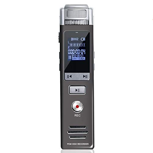 Voice Recorder, Carpuride 1536kbps 16GB Dictaphone Sound Activated Recorder, Portable HD Digital Voice Recorder for Lectures/Meetings/Interviews, Easy Recording with REC, MP3 Player/A-B - Recorder Wav