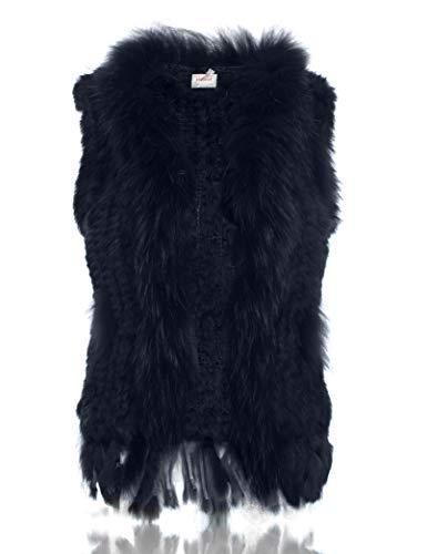 Fourrure HEIZZI Lapin tricot Raccoon de avec Veste 100 de col BIEqrx7wE