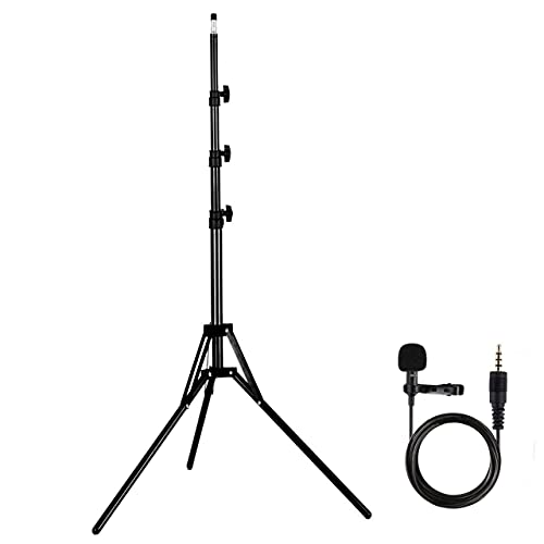Amazing Products 2.1 Meter Tripod for Mobile & DSLR [ Free Collar MIC ] Black Tripod with Mobile Clip Holder & 360 Degree Rotation( Lattu ) & Collar MIC for YouTube Free
