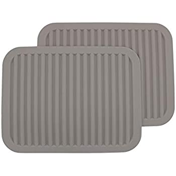 Silicone Trivets, Set of 2,Silicone Pot Holder/Trivet Mat/Silicone Drying Mat - Waterproof, Heat Insulation, Non-Slip, Spoon Rest, Tableware Pad, Jar Opener & Coasters (9x12INCH, Light Gray)