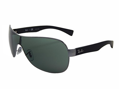 Ray Ban Shield Sunglasses - New Ray Ban RB3471 004/71 Gunmetal/Black/Green Lens 32mm Sunglasses