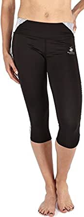 Beverly Hills Polo Club Womens Active Workout and Yoga Capri Pants-BH241-Black / White Print-XL