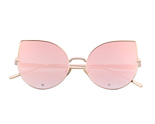 MERRY'S Women Rose Gold Cat Eye Sunglasses Pink Mirorred Lens S8026(Pink, - Cat Eye Gold