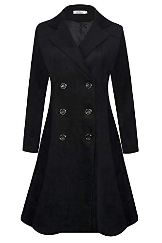 APTRO Women's Double Breasted Hemlines Wool Coat Long Winter Coats WS02 Black S