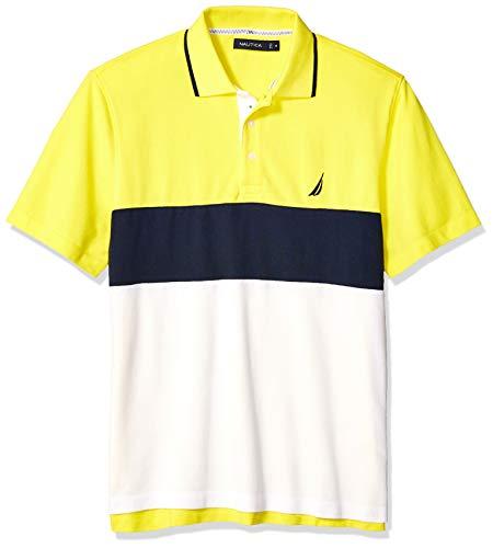 (Nautica Men's Short Sleeve 100% Cotton Pique Color Block Polo Shirt, Blazing Yellow, 3X-Large)