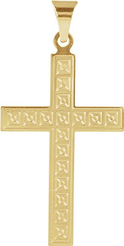 Yellow Pattern Cross (Square Christian Cross with Engraved Florian Pattern 14k Yellow Gold Pendant)