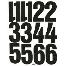 Vinyl Numbers, Adhesive, 21 Numbers, 6'''', Black, Sold as 1 Package, 21 Each per Package
