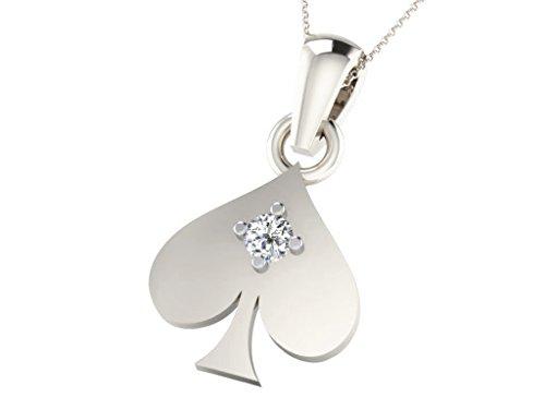Argent Blanc 92 ct Pendentifs Diamant en forme de feuille, 0.02 Ct Diamant, GH-SI, 0.46 grammes.