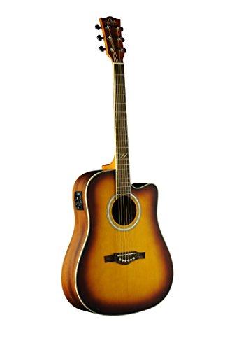 EKO Guitars 06217104 TRI Series Dreadnought Cutaway Acoustic-Electric Guitar, Honey Burst (Honey Electric Guitar Acoustic)