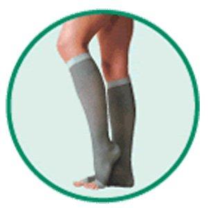 Silver Knee High Stocking, Below-Knee,Short - Silver, Size 3, Medium, Compression 20-30 mmHg, 1 Pai