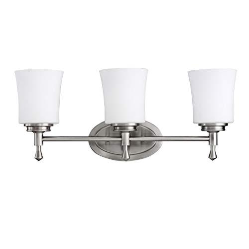 (Bathroom Vanity 3 Light Fixtures with Brushed Nickel Finish Medium Bulb Type 22