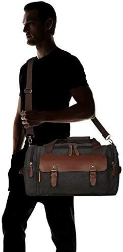 Oflamn Rugged Duffle Weekender Bag for Men Pu Leather Canvas Travel Overnight Carry on Bag with Multi-pockets (Black)