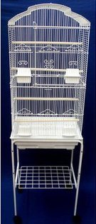 Large Tall Canary Parakeet Cockatiel LoveBird Finch Roof Top Bird Cage With Stand --18''x14''x60''White by Mcage