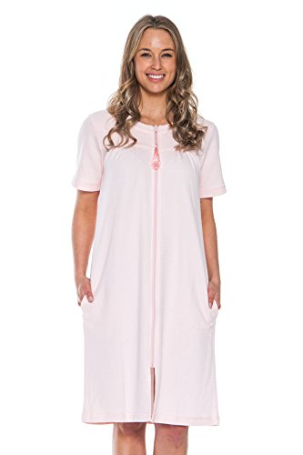 Patricia Women's Soft Waffle Knit Knee Length Zip up Nightgown (Pink, Large)