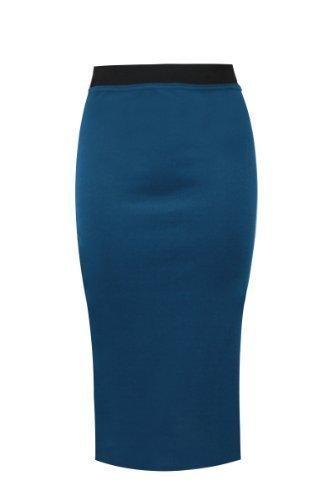sarcelle Amber Uni GRANDES Apparel Bleu 22 8 crayon bureau TAILLES DAMES Jupe extensible moulante wq6TFwU