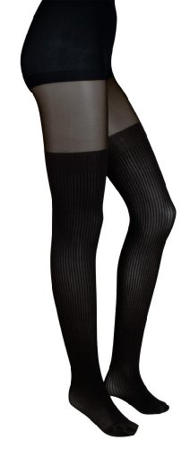 Intimate Portal Women's Fake-it Thigh High Opaque Tights Black Sheer ()