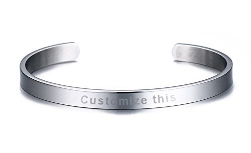 Engravable Silver Bracelets - MG Personalized Stainless Steel Customs Engraving Quote Mantra Message Inspirational Cuff Bangle Bracelets for Men Women