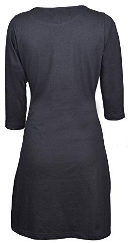 de femmes mandala manches trimestre avec Noir broderie La Coconut robe de nxZgaq6S