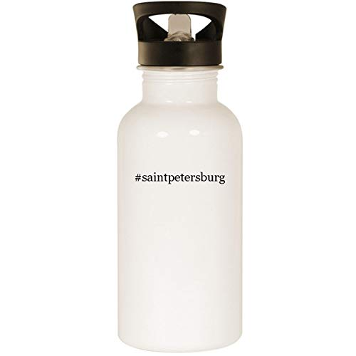 - #saintpetersburg - Stainless Steel Hashtag 20oz Road Ready Water Bottle, White
