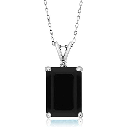 Sterling Silver Emerald Cut Black Onyx & White Diamond Pendant Necklace (7.38 cttw, With 18 Inch Silver Chain)