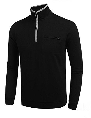 (Aimado Half-Zip Sweat Shirt for Mens Mock Turtleneck Solid 1/4 Zip Jacket (Black, XL))